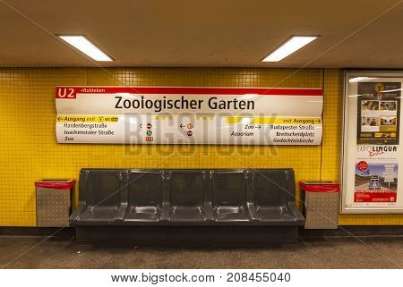 BERLIN GERMANY - NOVEMBER 3 2013: Inside the U-Bahn station Zoologischer Garten in Berlin Germany. Zoologischer Garten station serving the U-Bahn lines U2 and U9