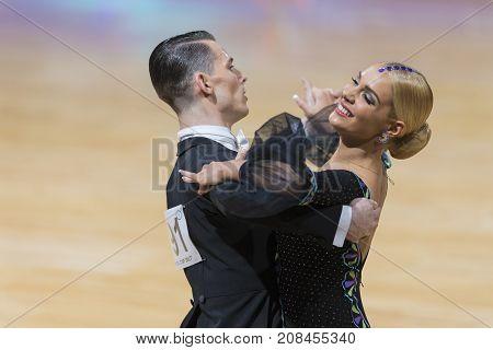 Minsk Belarus-October 7 2017: Dance Couple of Kezin Evgeny and Karabatova Polina Performs Adults European Standard Program on WDSF International Capital Cup Minsk- 2017 in October 7 2017 in Minsk Belarus