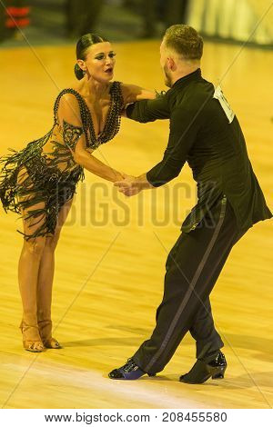 MinskBelarus-October 72017:Unidentified Pro-Am Dance Couple Performs Pro-Am International Scholarship Latin-American Program on WDSF International Capital Cup MinskOctober 72017 MinskBelarus