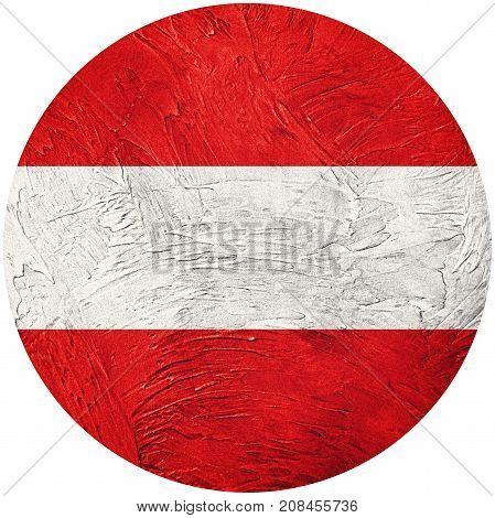 Grunge Austria Flag. Austria Button Flag Isolated On White Background