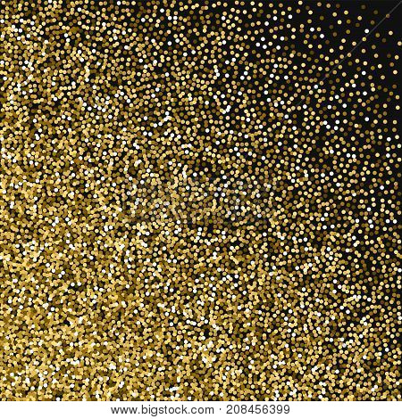 Round Gold Glitter. Abstract Mess With Round Gold Glitter On Black Background. Captivating Vector Il