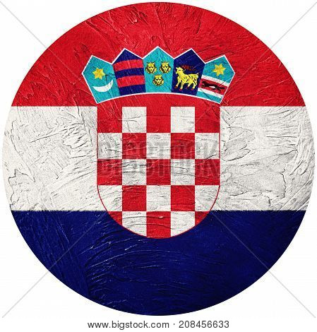 Grunge Croatia Flag. Croatian Button Flag Isolated On White Background
