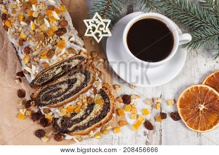 Poppy Seeds Cake, Cup Of Coffee And Spruce Branches, Dessert And Decoration For Christmas Time