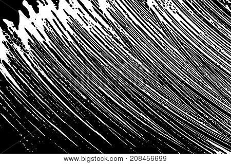 Grunge Soap Texture. Distress Black And White Rough Foam Trace Amazing Background. Noise Dirty Recta