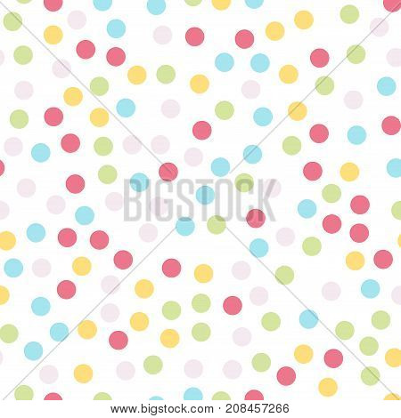 Colorful polka dots seamless pattern on white 4 background. Fascinating classic colorful polka dots textile pattern. Seamless scattered confetti fall chaotic decor. Abstract vector illustration. poster