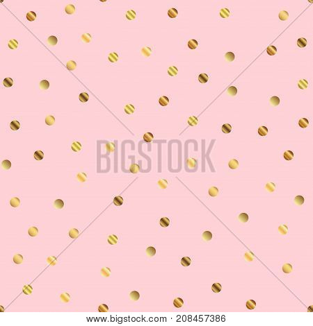 Golden Dots Seamless Pattern On Pink Background. Mesmeric Gradient Golden Dots Endless Random Scatte