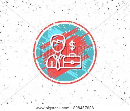 Businessman With Case Line Icon.