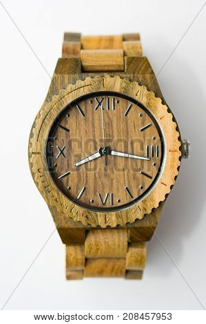 Interesting Wooden Watch on White Background Top View