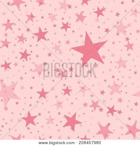 Pink Stars Seamless Pattern On Light Pink Background. Pleasant Endless Random Scattered Pink Stars F