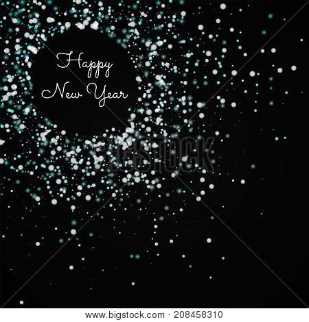 Happy New Year Greeting Card. Amazing Falling Snow Background. Amazing Falling Snow On Wine Red Back