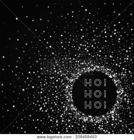 Ho-ho-ho Greeting Card. Amazing Falling Stars Background. Amazing Falling Stars On Black Background.