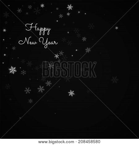 Happy New Year Greeting Card. Sparse Snowfall Background. Sparse Snowfall On Red Background. Beautif