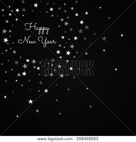 Happy New Year Greeting Card. Random Falling Stars Background. Random Falling Stars On Red Backgroun