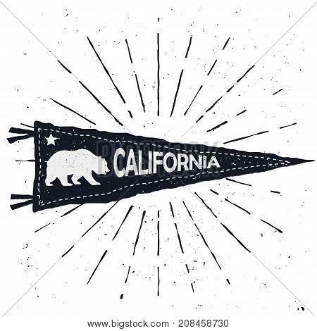 Adventure pennant, Vintage hand drawn flag, California sign, Bear emblem, Retro textured t-shirt template. Travel print with cali symbol. vector