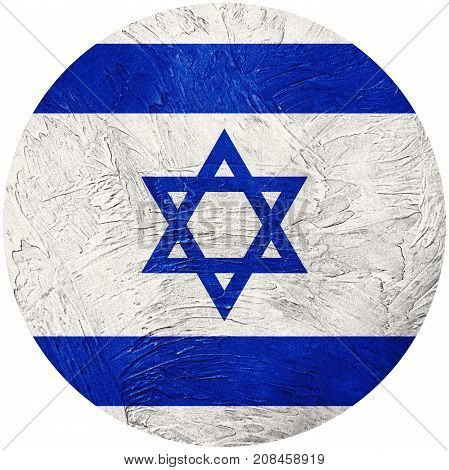 Grunge Israel Flag. Israel Button Flag Isolated On White Background