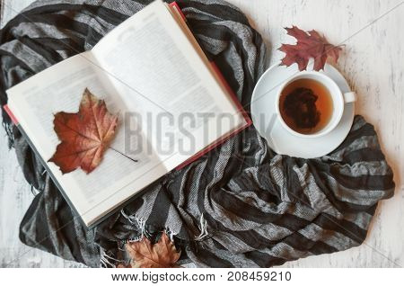 A Cup Of Tea On A Table With A Striped Warm Scarf Or Stole And A Book. Warm Autumn. Toning And Blur.