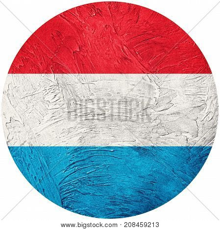 Grunge Luxembourg Flag. Luxembourg Button Flag Isolated On White Background