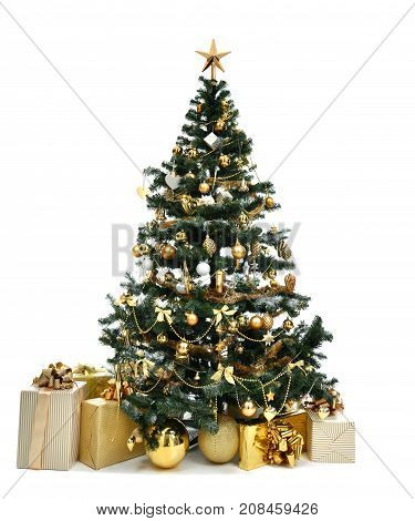 Decorated gold Christmas tree with golder patchwork ornament artificial star hearts presents for new year 2018 isolated on white background