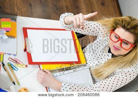 Happy Business Woman In Office Having Idea