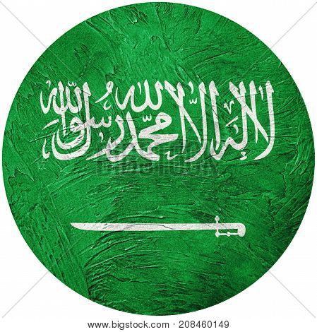 Grunge Saudi Arabia Flag. Saudi Arabia Button Flag Isolated On White Background
