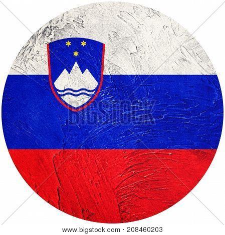 Grunge Slovenia Flag. Slovenia Button Flag Isolated On White Background