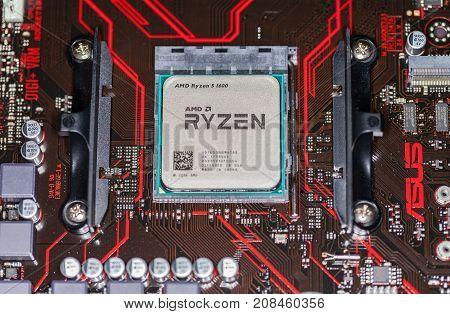 HANNOVER / GERMANY - OCTOBER 12 2017: AMD Ryzen processor chip on an Asus prime 350 plus mainboard.