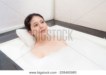 Closeup Of Happy Bathing Woman Making Daydreaming