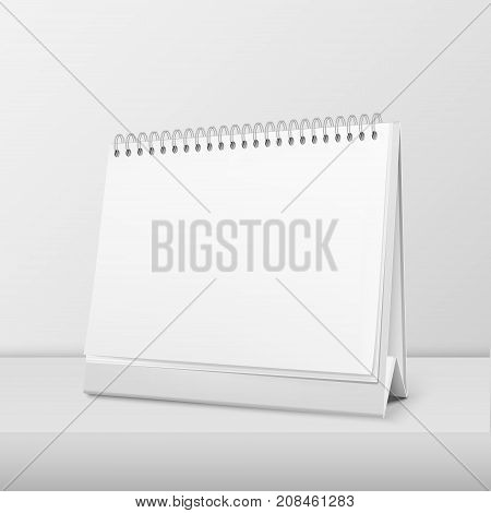 Vector realistic horizontal blank spiral calendar closeup standing on white table. Design template, mockup. Stock vector illustration, eps10.