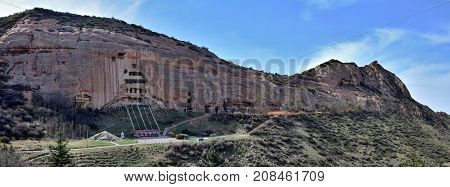 The panorama of Mati Temple, the Horse´s Hoof Temple, near city of Zhang Ye in Gansu province in China.