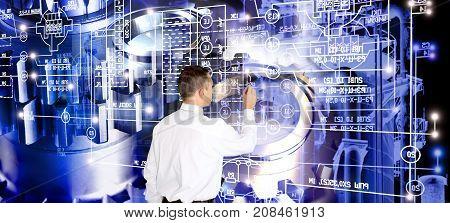 Industrial engineer designer.Engineering manufacturing technology. Industry designing