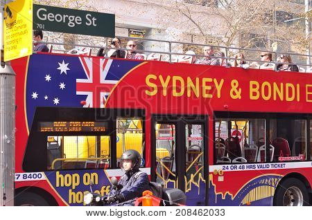Sydney Australia. - On August 142017. - The red double-decker bus for a sightseeing tour at George Street in Sydney.