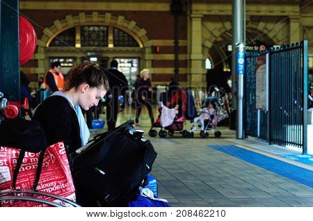 SYDNEY - AUGUST 11 2017:The largest railway station in Australia Interior of Sydney Central Station. it is the busiest station in New South Wales.