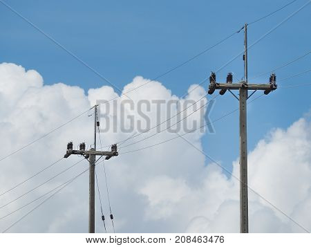 Electric pillar with transformer in the electric network. Outdoor view