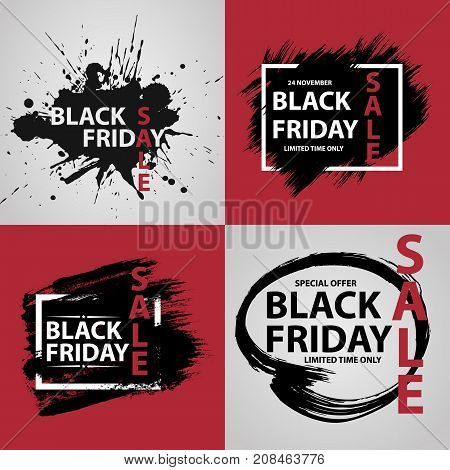 Black Friday Sale grunge set. Collection of Black friday banners with grunge ink drops and brush. Vector illustration