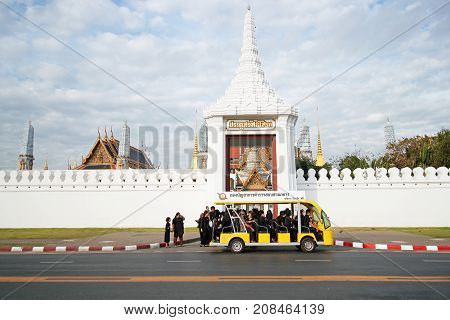 BANGKOK-THAILAND: Crowds of mourners to devotions for funeral of King Bhumibol Adulyadej in Wat Phra Kaew on January 3 2017