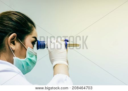 Medical technicians working in laboratory at the hospital.