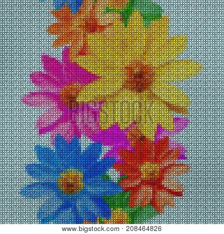Illustration. Cross-stitch. Adonis. Texture of flowers. Seamless pattern for continuous replicate. Floral background collage.