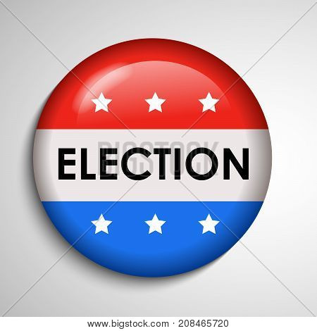 illustration of button in USA flag background with Election text on the occasion of election day