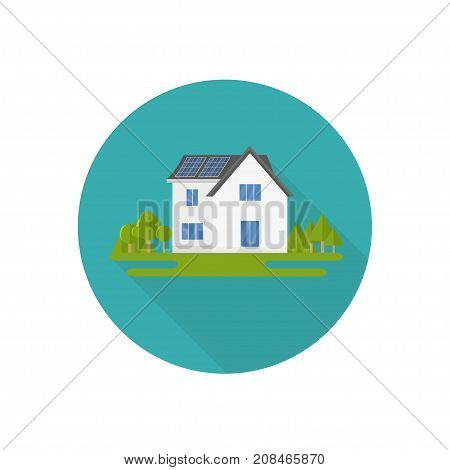 Clean modern icon house with solar panels. Eco friendly alternative energy. Ecosystem infographics. Flat vector illustration.