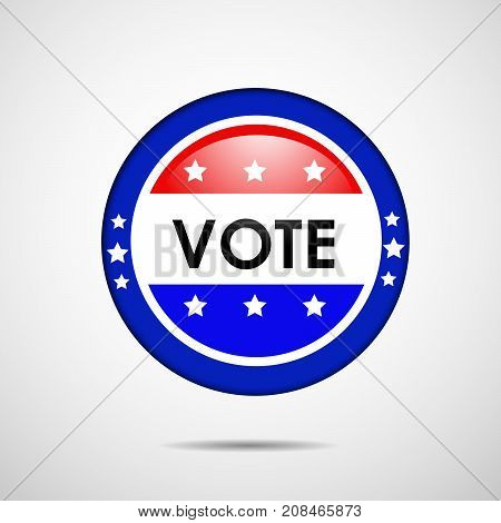 illustration of stamp in USA flag background with vote text on the occasion of election day