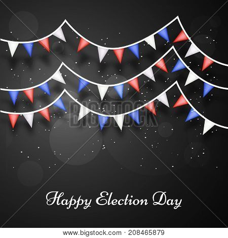 illustration of decoration with happy election day text on the occasion of election day