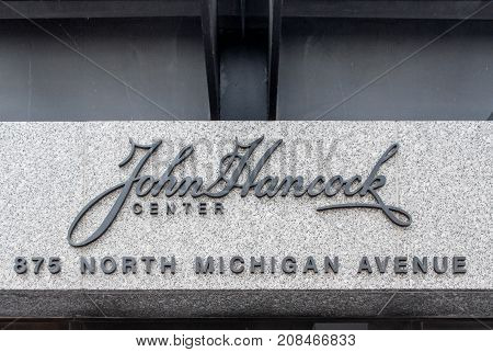 Chicago, Illinois - June 10, 2007: John Hancock Building entrance sign in Chicago Illinois