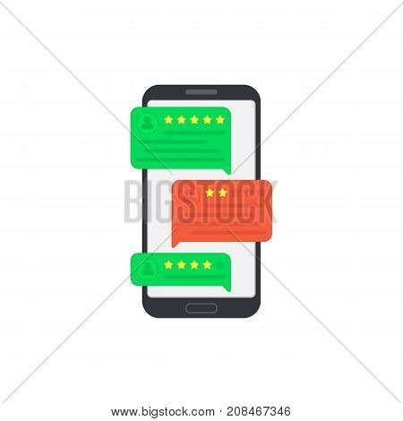 User reviews on smartphone. Feedback. Testimonial messages on mobile phone. Review rating in speech bubbles. Good and bad rate. Hand with smartphone. Illustration in flat style.