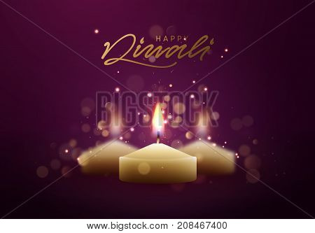 Celebrate Diwali festival of lights. Holiday background Hindu Diwali or Deepavali.