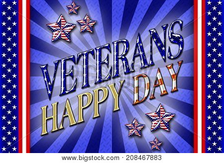 Happy Veterans Day, Steel blue Background, 3D, Honoring all who served, American holiday template.