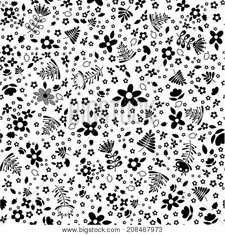 trendy seamless pattern with abstract flowers and leaves in black and white design for children or spring floral decoration