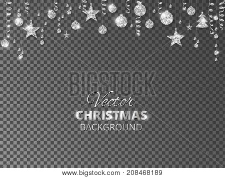 Sparkling Christmas glitter ornaments isolated on transparent background. Silver fiesta border. Festive garland with hanging balls and ribbons. Great for New year party posters, website headers.