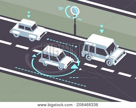 Machine car controlled on road by autopilot. Automobile traffic, vector illustration