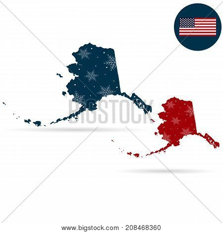 Map of the U.S. state of Alaska on a white background. Merry christmas and a happy new year