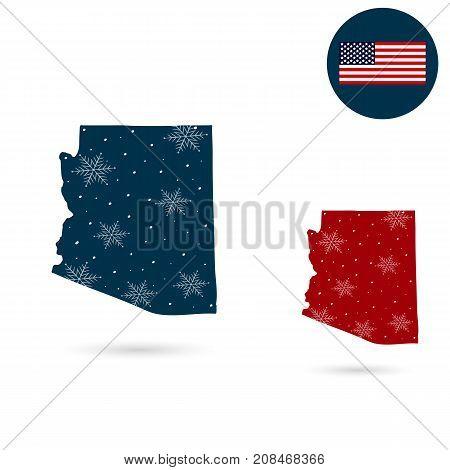 Map of the U.S. state of Arizona. Merry christmas and a happy new year